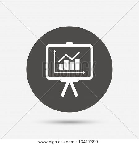 Presentation billboard sign icon. Scheme and Diagram symbol. Gray circle button with icon. Vector