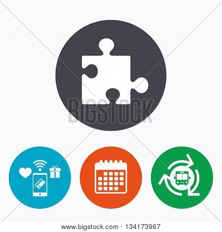 Puzzle piece sign icon. Strategy symbol. Mobile payments, calendar and wifi icons. Bus shuttle.