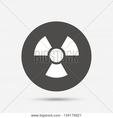Radiation sign icon. Danger symbol. Gray circle button with icon. Vector