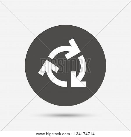 Recycling sign icon. Reuse or reduce symbol.. Gray circle button with icon. Vector