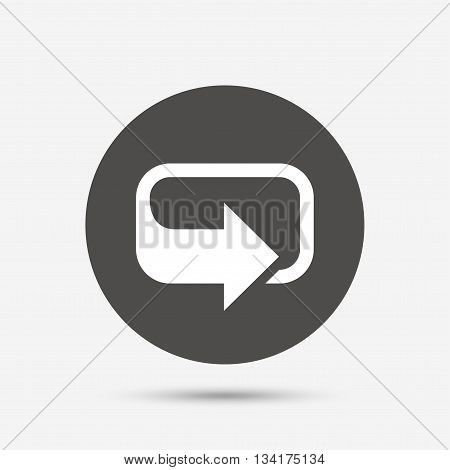 Rotation icon. Repeat symbol. Refresh sign. Gray circle button with icon. Vector