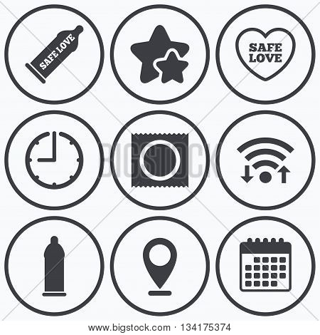 Clock, wifi and stars icons. Safe sex love icons. Condom in package symbol. Fertilization or insemination. Heart sign. Calendar symbol.
