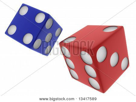 2 3D Red And Blue Dice On White Backgound