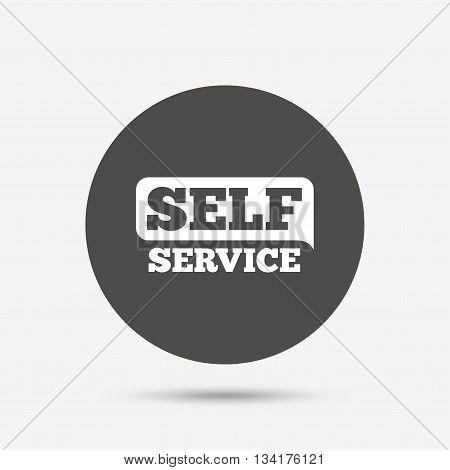 Self service sign icon. Maintenance button. Gray circle button with icon. Vector