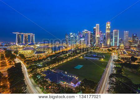 Singapore city skyline at Marina Bay at night
