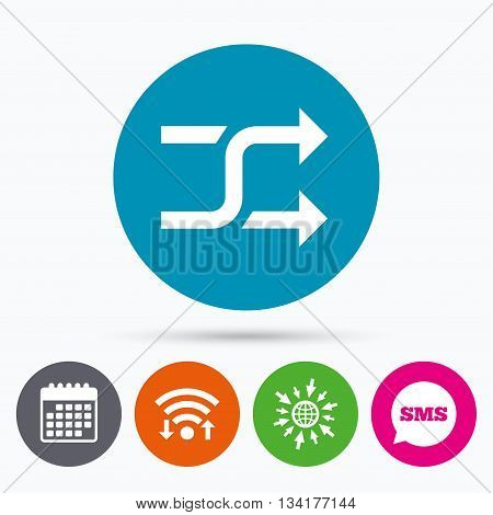 Wifi, Sms and calendar icons. Shuffle sign icon. Random symbol. Go to web globe.