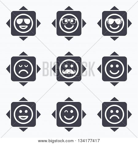 Icons with direction arrows. Smile icons. Happy, sad and wink faces signs. Sunglasses, mustache and laughing lol smiley symbols. Square buttons.