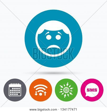 Wifi, Sms and calendar icons. Sad face sign icon. Sadness depression chat symbol. Go to web globe.