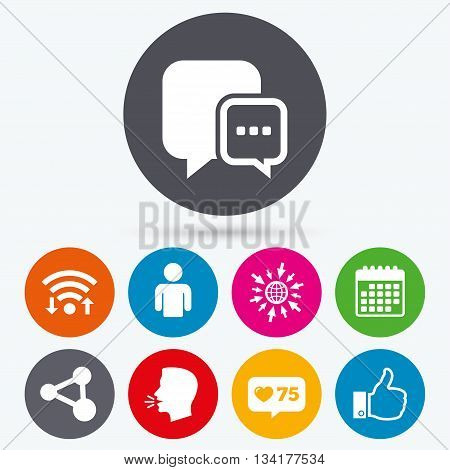 Wifi, like counter and calendar icons. Social media icons. Chat speech bubble and Share link symbols. Like thumb up finger sign. Human person profile. Human talk, go to web.