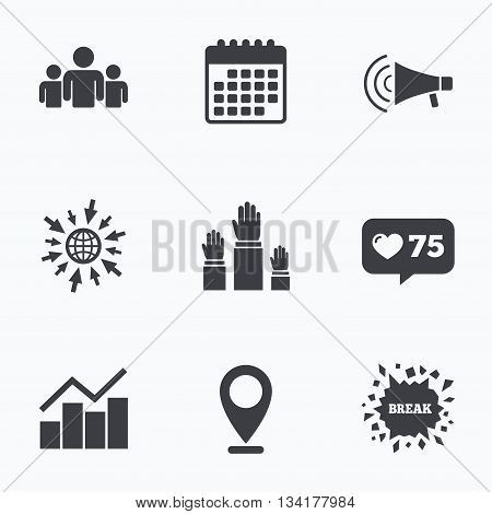 Calendar, like counter and go to web icons. Strike group of people icon. Megaphone loudspeaker sign. Election or voting symbol. Hands raised up. Location pointer.