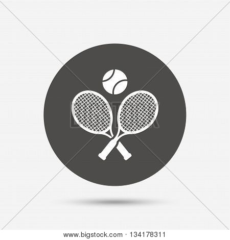 Tennis rackets with ball sign icon. Sport symbol. Gray circle button with icon. Vector