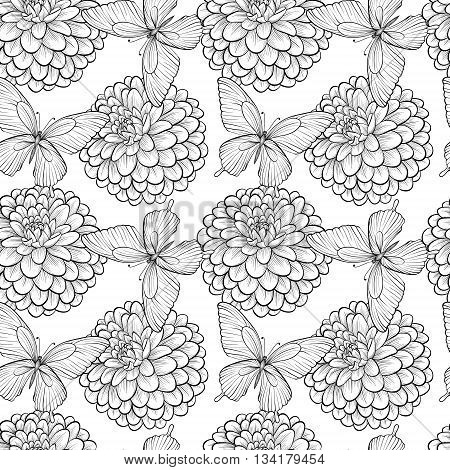 Beautiful seamless background with monochrome black and white butterflies and dahlias. Hand-drawn contour lines and strokes. Perfect for background greeting cards and invitations of the wedding birthday Valentine's Day