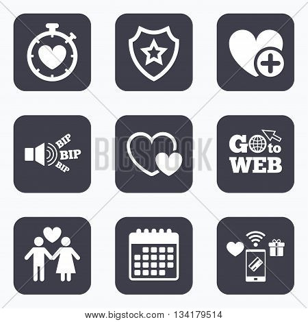 Mobile payments, wifi and calendar icons. Valentine day love icons. Love heart timer symbol. Couple lovers sign. Add new love relationship. Go to web symbol.