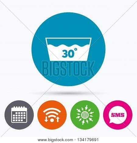 Wifi, Sms and calendar icons. Wash icon. Machine washable at 30 degrees symbol. Go to web globe.