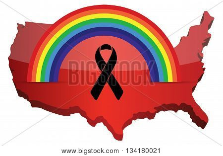 Black Ribbon Pride Rainbow Flag And Us Map.