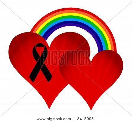 Black Ribbon Rainbow Flag And Hearts.