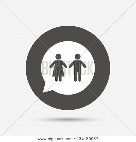 Toilet sign icon. Restroom or lavatory speech bubble symbol. Gray circle button with icon. Vector