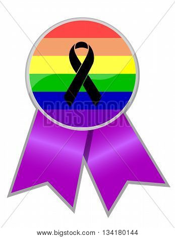 Black Ribbon Over A Pride Rainbow Ribbon Flag.