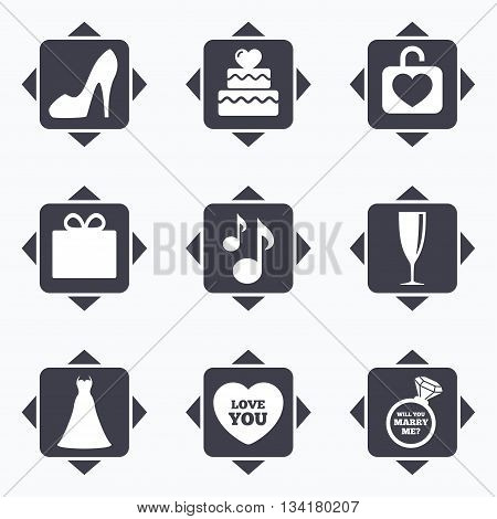 Icons with direction arrows. Wedding, engagement icons. Cake with heart, gift box and brilliant signs. Dress, shoes and musical notes symbols. Square buttons.