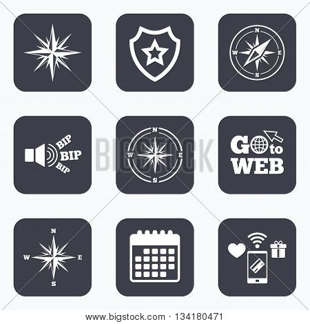 Mobile payments, wifi and calendar icons. Windrose navigation icons. Compass symbols. Coordinate system sign. Go to web symbol.