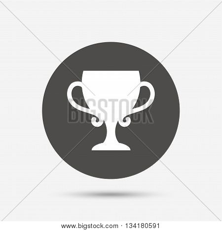 Winner cup sign icon. Awarding of winners symbol. Trophy. Gray circle button with icon. Vector