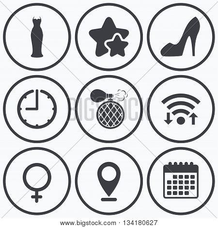 Clock, wifi and stars icons. Wedding dress icon. Women shoe sign. Perfume glamour fragrance symbol. Calendar symbol.