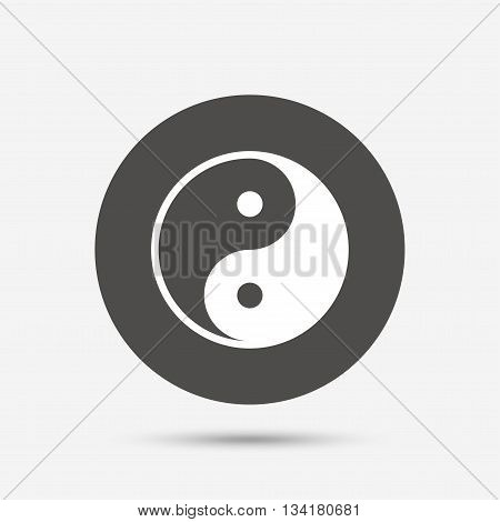 Ying yang sign icon. Harmony and balance symbol. Gray circle button with icon. Vector