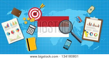 indonesia economy economic condition country with graph chart and finance tools vector graphic illustration