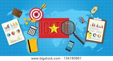 vietnam economy economic condition country with graph chart and finance tools vector graphic illustration
