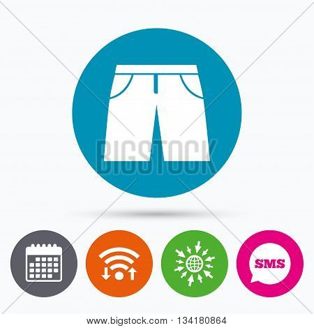 Wifi, Sms and calendar icons. Men's Bermuda shorts sign icon. Clothing symbol. Go to web globe.
