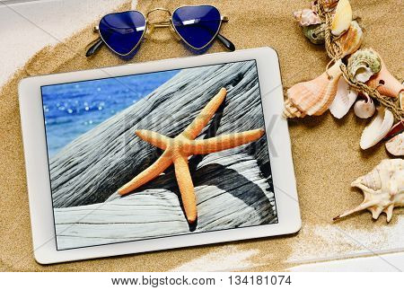 high-angle shot of a white surface full of sand and a pair of sunglasses, an ornament made with seashells and a tablet with the picture of a starfish in a tree trunk on the beach taken by myself