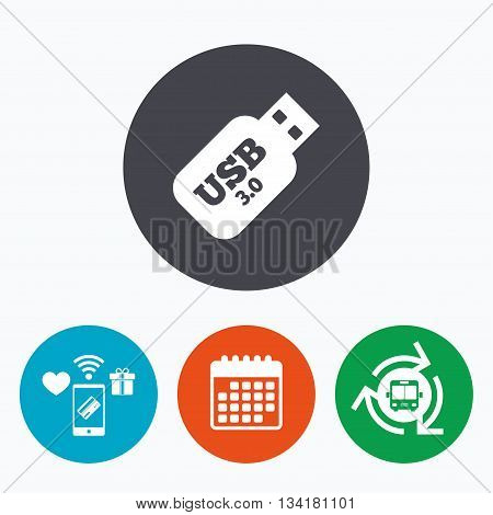 Usb 3.0 Stick sign icon. Usb flash drive button. Mobile payments, calendar and wifi icons. Bus shuttle.