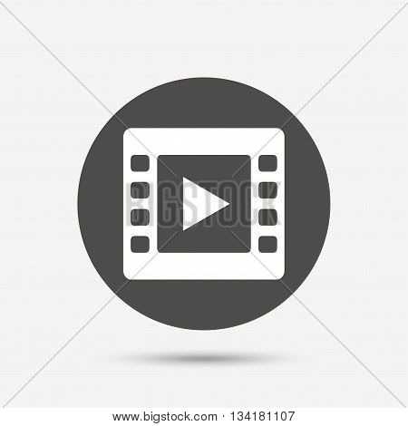 Video sign icon. Video frame symbol. Gray circle button with icon. Vector
