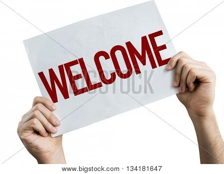Welcome placard isolated on white background