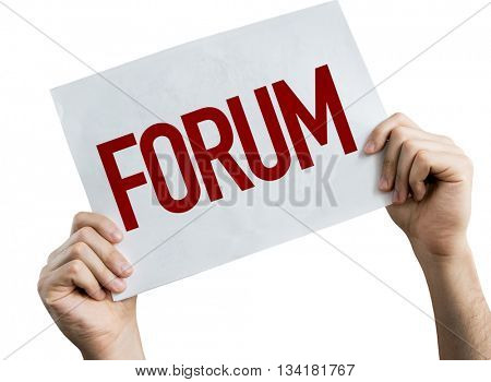 Forum placard isolated on white background