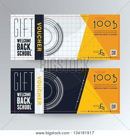 Gift Voucher concept back to school  Gift Voucher Colorful Template, Vector illustration,Gift voucher template