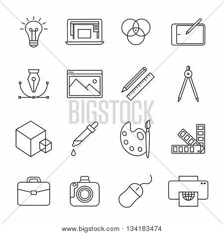 Graphic and web design line icons. Vector illustration.