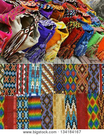 Souvenirs from Cartagena Colombia - woven shoulder bags and beaded bracelets