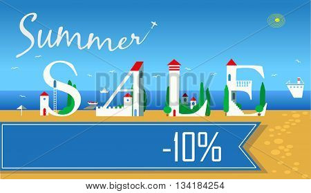 Inscription Summer Sale. Cute white houses on the coast. Summer beach. Plane in the sky. Blue banner. Illustration.