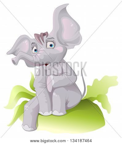 Funny African elephant with big ears. Vector cartoon illustration