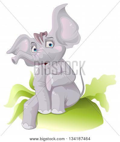 Funny African elephant with big ears. Vector cartoon illustration