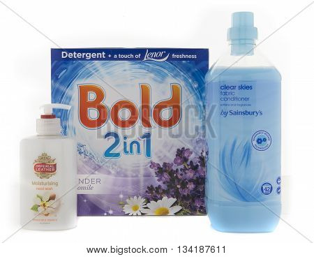 SWINDON UK - JUNE 3 2016: Collection of cleaning and washing products on a white background