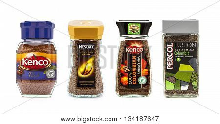 SWINDON UK - MAY 4 2014: Four Jars of Instant Coffee on a white background