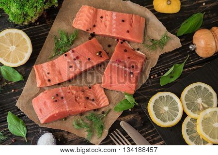 Salmon Fillet On Parchment Paper