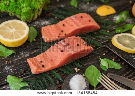 Salmon Fillet On A Branch Of Fern
