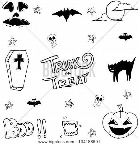 Hand draw halloween set stock vector illustration