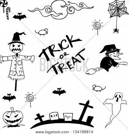 Doodle of halloween vector art hand draw