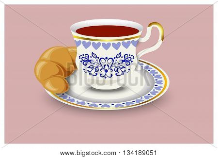 A cup of tea and a bun. Vector illustration hand drawing.