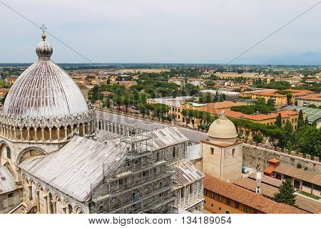 View from Leaning Tower to Cathedral (Duomo di Pisa) Italy