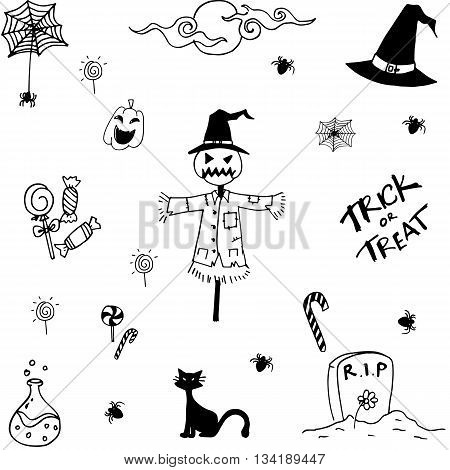 Collection halloween doodle vector art with hand draw